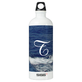 Monogrammed Ocean Waves Bottle