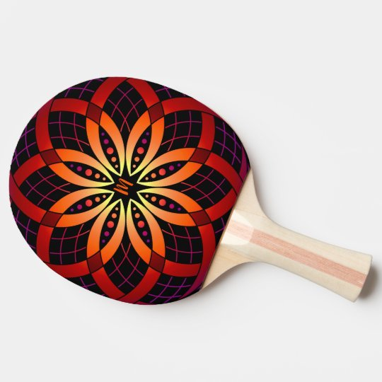 monogrammed ombre gradient geometric mandala ping pong paddle