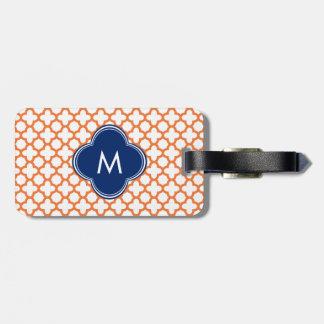 Monogrammed Orange  and Royal Blue Quatrefoil Luggage Tag