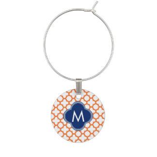 Monogrammed Orange  and Royal Blue Quatrefoil Wine Charm