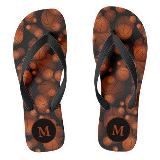 monogrammed orange black basketballs pattern thongs