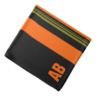 Monogrammed Orange Black Green Striped Pattern Bandana