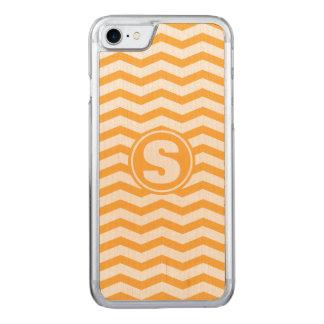 Monogrammed Orange Chevron Pattern Carved iPhone 8/7 Case