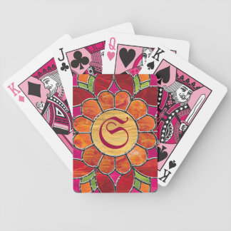 Monogrammed Orange Flower Playing Cards