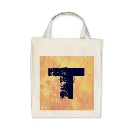 Monogrammed Orange Wash Organic Grocery Tote Tote Bag