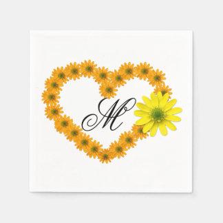 Monogrammed Orange & Yellow Daisy Heart Napkin Disposable Serviette