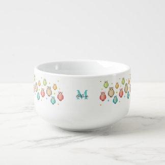 Monogrammed Owls Pattern Mug Soup Mug