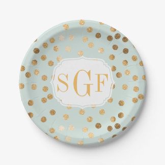 Monogrammed Pale Mint Blue and Gold Glitter Dots Paper Plate