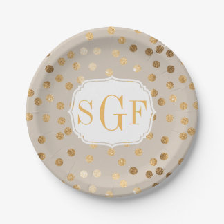 Monogrammed Pale Tan and Gold Glitter Dots Paper Plate