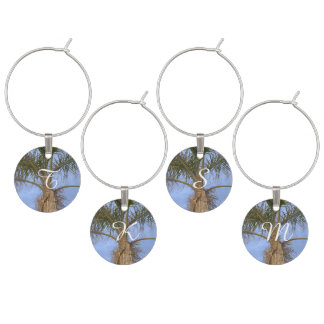 Monogrammed Palm Tree Wine Charms