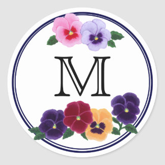 Monogrammed Pansies Floral Classic Round Sticker