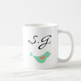 Monogrammed Pastel Green Bird Coffee Mug