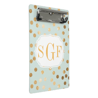 Monogrammed Pastel Mint with Gold Glitter Dots Mini Clipboard