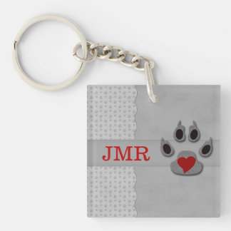 Monogrammed Paw Print and Red Heart Key Ring