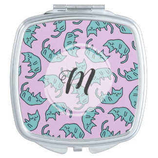 Monogrammed Peaceful Kitty Pattern | Monogram Mirror For Makeup