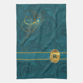 Monogrammed Peacock Kitchen Towel
