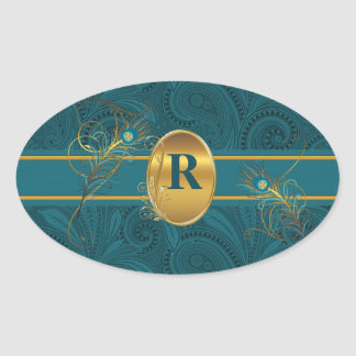 Monogrammed Peacock Teal Stickers