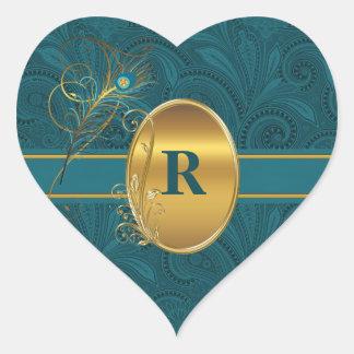 Monogrammed Peacock Teal Wedding Heart Heart Sticker