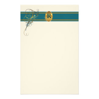 Monogrammed Peacock Wedding in Teal and Gold Stationery