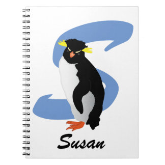 Monogrammed Penguin w/ Name & Initial Notebook