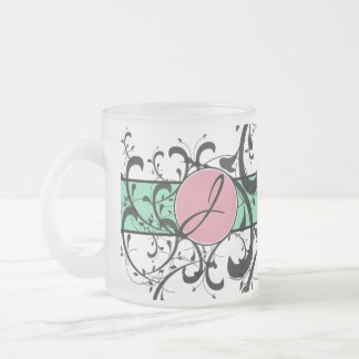 Monogrammed Personalized Fancy Flourish Frosted Glass Coffee Mug