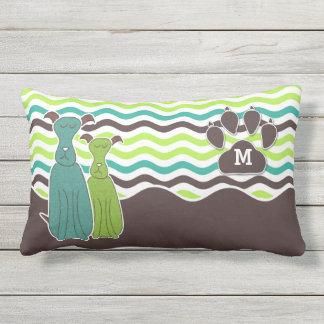 Monogrammed Pet Lover's Come Sit Stay Cute Dog Outdoor Cushion