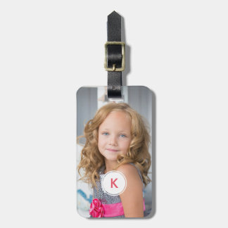 Monogrammed Photo Pink Monogram Initial For Women Luggage Tag