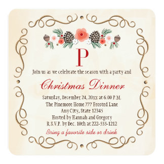MONOGRAMMED PINECONE LAUREL CHRISTMAS DINNER PARTY CARD