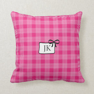 Monogrammed Pink and Black Bow Pillow