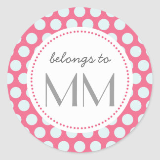 Monogrammed Pink and Blue Dots - DIY Tags Round Sticker