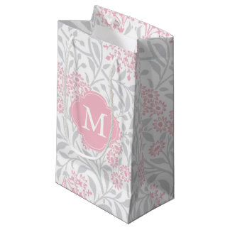 Monogrammed Pink and Gray Floral Damask Pattern Small Gift Bag