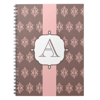 Monogrammed Pink and Gray Notebook