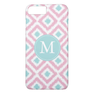 Monogrammed Pink and Mint Diamonds Ikat Pattern iPhone 8 Plus/7 Plus Case