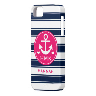 MONOGRAMMED PINK AND NAVY ANCHOR BARELY THERE iPhone 5 CASE