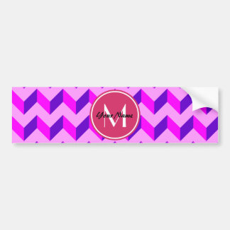 Monogrammed Pink and Purple Chevron Patchwork Car Bumper Sticker