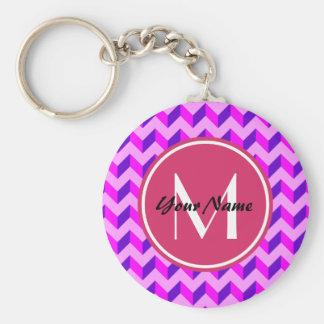 Monogrammed Pink and Purple Chevron Patchwork Basic Round Button Keychain