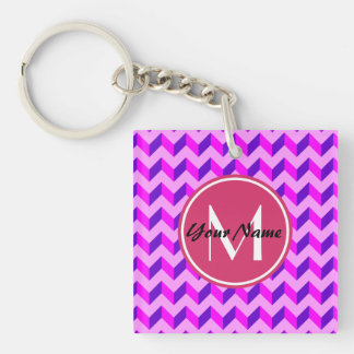Monogrammed Pink and Purple Chevron Patchwork Double-Sided Square Acrylic Keychain