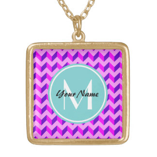 Monogrammed Pink and Purple Chevron Patchwork Square Pendant Necklace
