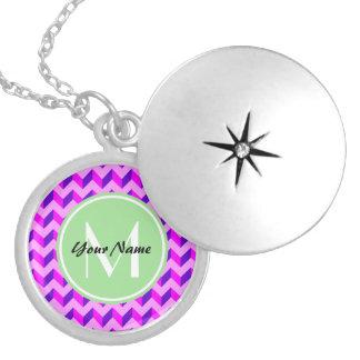 Monogrammed Pink and Purple Chevron Patchwork Round Locket Necklace
