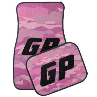Monogrammed pink army camo camouflage car mat set