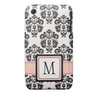 Monogrammed Pink Black Damask iPhone 3 Case