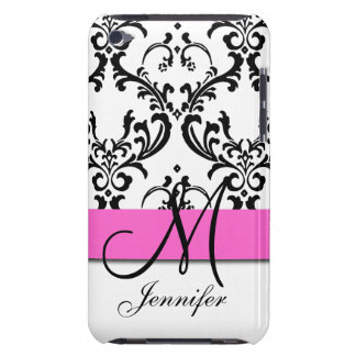 Monogrammed Pink Black White Swirls Damask iPod Touch Covers