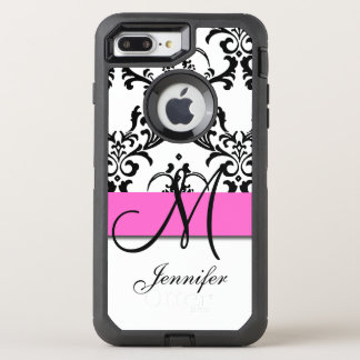 Monogrammed Pink Black White Swirls Damask OtterBox Defender iPhone 8 Plus/7 Plus Case