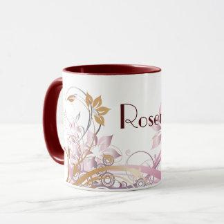 Monogrammed Pink & Bronze Flourished Flowers Mug