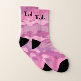 Monogrammed pink camo army camouflage socks gift 1