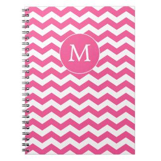 Monogrammed Pink Chevron Notebook