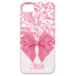 Monogrammed Pink Damask and Pink Ribbon iPhone 5 Cases