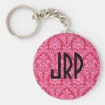Monogrammed Pink Damask Key Chains