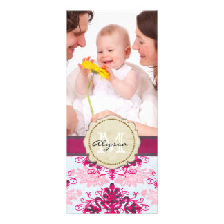 Monogrammed Pink Damask Rack Card Template