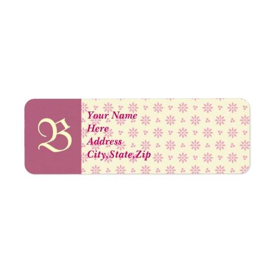 Monogrammed Pink Eyelet Address Label